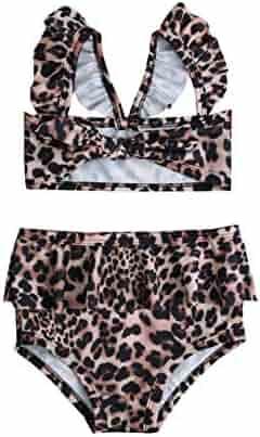 998372524b20 Karuedoo Toddler Baby Girls Bikini Swimsuit Leopard Print Bikini Set  Swimwear Beachwear with Headband