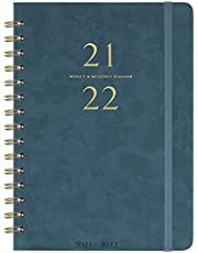 """2021-2022 Planner - Weekly & Monthly Planner with Monthly Tabs, 6.3"""" x 8.4"""", Smooth Faux Leather & Flexible Cover with White Paper, July 2021 - June 2022, Wirebound, Green"""