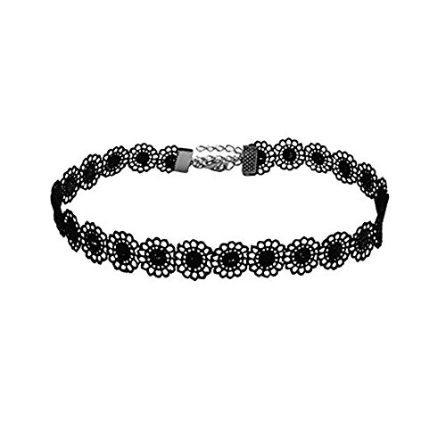 PearlPlus Vintage Black Lace Sunflower Tattoo Gothic Choker Necklaces For Women