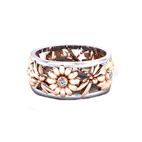 (Women's Cute Sunflower Statement Stackable Band Rings 18K Rose Gold Plated Dragonfly Clear Crystal CZ Eternity Cocktail Band Size 7)