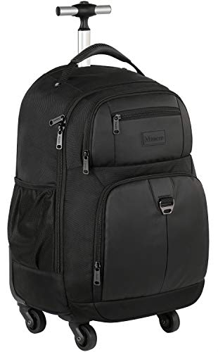Rolling Backpack,Waterproof Business Wheeled Laptop Backpack for Men Women,Carry On Computer Bag Luggage Suitcase for Travel College School with 4 Spinner Wheels Fit 15.6 Inch Notebook