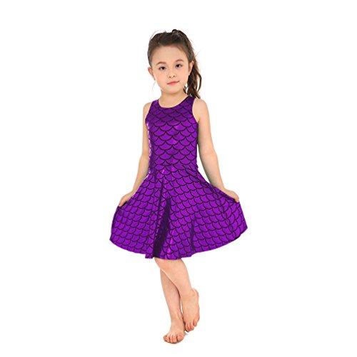 Lesubuy Purple Fish Skater Mermaid Scales Dress Shiny for Girls Medium -
