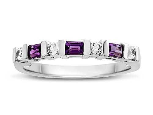 - Finejewelers 3x2mm Baguette Amethyst and Created White Sapphire Band Ring Sterling Silver Size 5