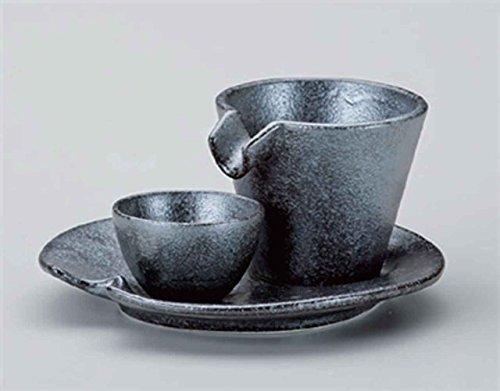 Silver & Black 3.7inch Set of 2 Sake Sets porcelain Made in Japan