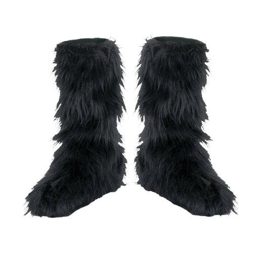 Costumes Boot Cover (D/Ceptions 2 Black Furry Boot Covers Costume Accessory, One Size Child)