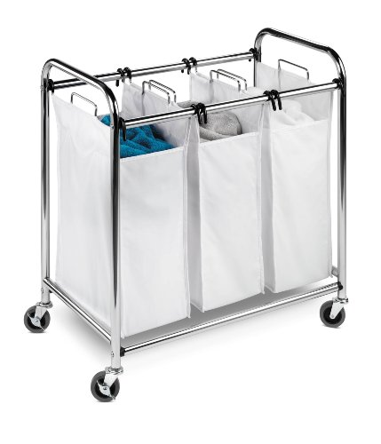Honey-Can-Do SRT-01235 Heavy-Duty Triple Laundry Sorter, Chrome/White (Sorter Bin Laundry)