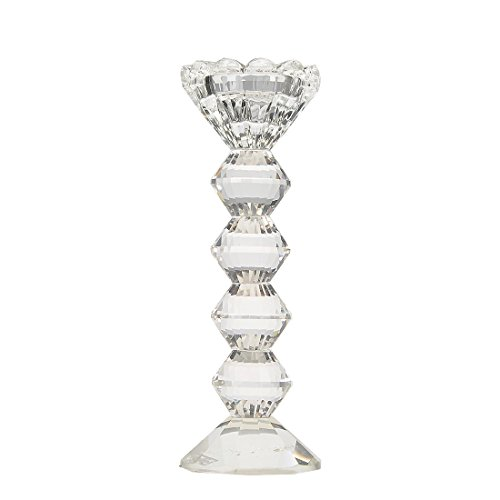 H&D Clear Classical Crystal Pillar Candlestick Holder Dinning Table Centerpiece (7.9inch)