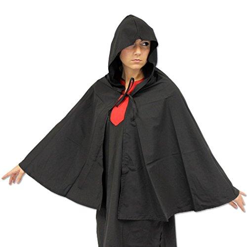 Renaissance Era Noble Swordsman Short Cape & Night Hood Medieval Black