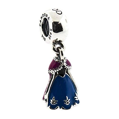 Pandora Disney Anna's Dress with Blue Orchid and Black Enamel 791591enmx