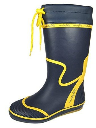 Ladies Sailing Wellies with Tie top and chevron pattern sole Navy/Yellow