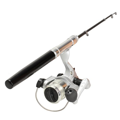 釣りロッドポールリール伸縮タイプミニポケットペンセット B00K67TPRQ  ブラック