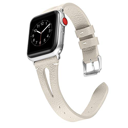 (Secbolt Leather Bands Compatible with Apple Watch, 38mm 40mm Series 4 3 2 1, Slim Strap with Breathable Hole Replacement Wristband for Iwatch Nike+ Edition, Beige)