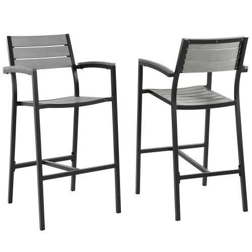Modway Maine Aluminum Outdoor Patio Bar Stools in Brown Gray – Set of 2