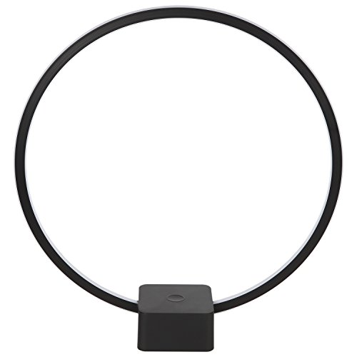 [Brightech – Circle LED Table & Desk Lamp – Bright Orb of Light with Built-in Dimmer Brings Sci-Fi Ambiance to Contemporary Spaces –12 Watts – Black] (Modern Art Deco)