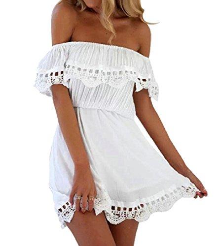 Jaycargogo Occasionnel Des Femmes Au Large De La Robe À Manches Courtes Épaule Blanc