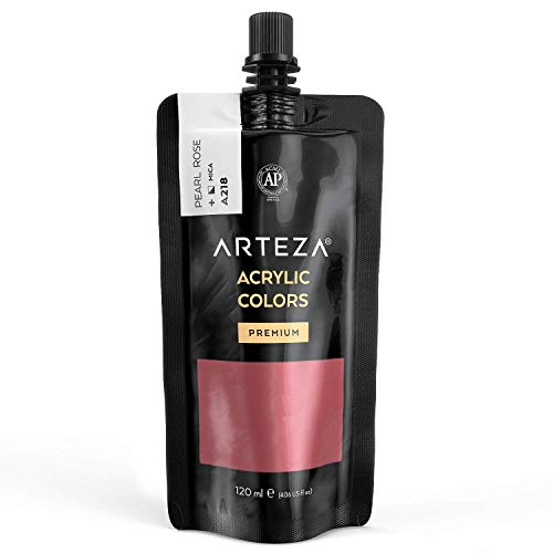 Arteza Metallic Acrylic Paint, Pearl Rose A218, 120 ml Pouch, Highly Pigmented & Fade-Resistant, Non-Toxic, for Artists, Hobby Painters & Kids