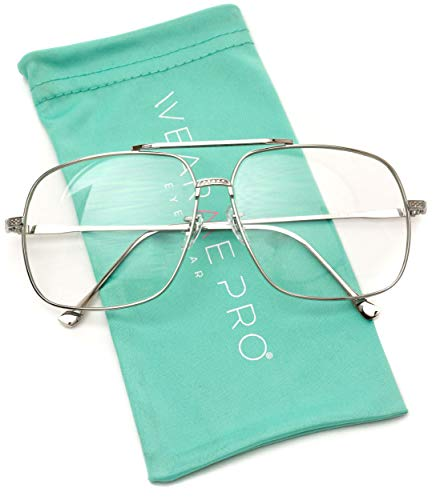 WearMe Pro -70's Style Clear Lens Non Prescription Metal Aviator