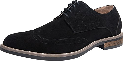 JOUSEN Men's Oxford Wingtip Brogue Suede Leather Dress Shoes (10,Black) by JOUSEN