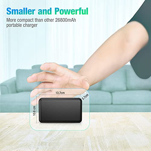BABAKA Portable Charger 26800mAh, PD 18W USB-C Power Delivery Power Bank, Type-C & Micro USB Inputs, Compact Battery Pack Fast Charging Phone Charger for iPhone 12, Samsung S10, Pixel 3, and More