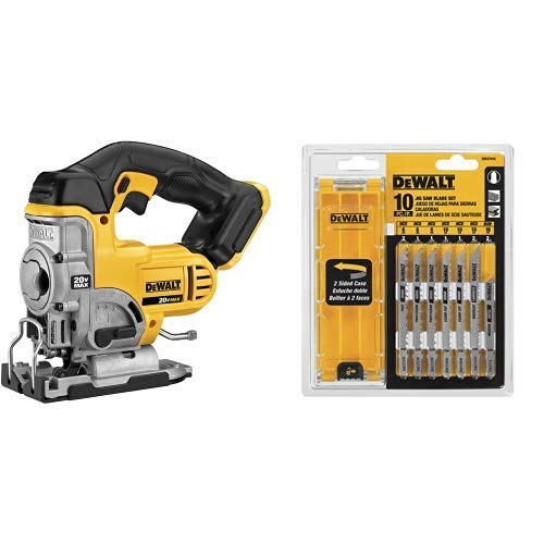 DEWALT DCS331B 20-Volt MAX Li-Ion Jig Saw  (Tool Only), Yellow with DEWALT DW3741C 10-Piece T-Shank Jig Saw Blade Set w/Case by DEWALT