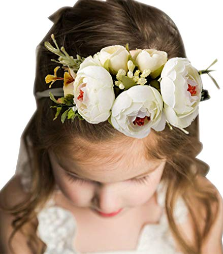 Beaumode Blush Floral Baby Girl Headband Wedding Newborn Infant Toddler Photography Hair Accessories (A)