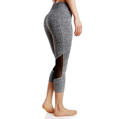Pantalons de sportFemme Leggings de Sport PantalonsCapri Jogging Yoga Pantalons Legging Pantalon de Sport Gris poche pantalon court