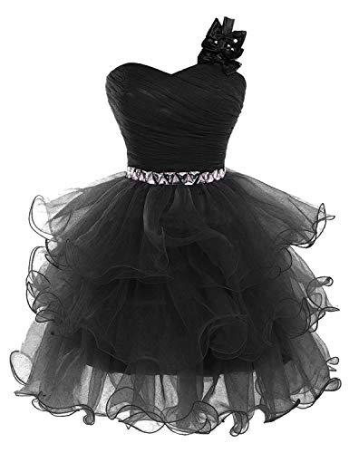(Lilibridal Beading Tulle Short Prom Dresses One Shoulder Homecoming Dresses (Black Size 16w))