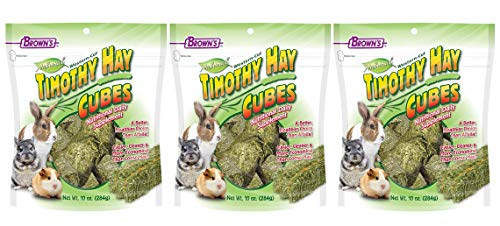 FM Brown's 3 Pack of Timothy Hay Cubes, 10 Ounces Each, for Rabbits Guinea Pigs and - Hay Cubes Timothy