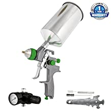 TCP Global® Brand Pro New 2.5mm HVLP Spray Gun-auto Paint Primer-metal Flake with Air Regulator