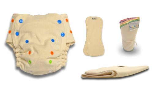 BabyKicks 4 Piece Organic Fitted Diaper, One Size
