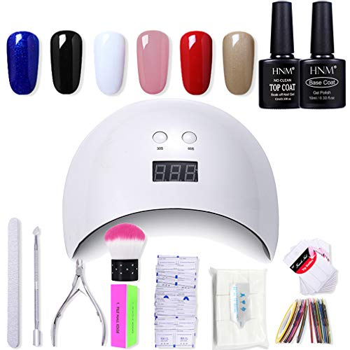 HNM Gel Nail Starter Kit 6PCS Gel Nail Polish with 24W LED Curing Lamp Base and Top Coat Nail Polish Remover Wrap Manicure Tools Gift Set ()