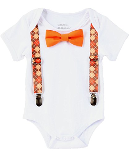 Noah's Boytique Baby Boys Thanksgiving Fall Pumpkin Patch Picture Outfit Argyle Suspenders and Orange Bow Tie 6-12 Months