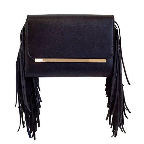JNB Women's Double Pocket Fringe Clutch