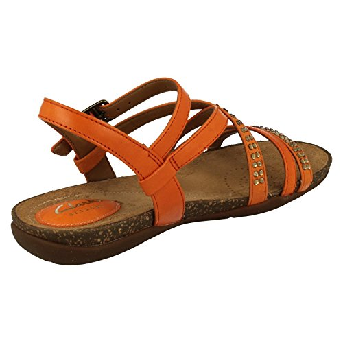 CLARKS Clarks Womens Sandal Autumn Peace Orange Leather 3.5
