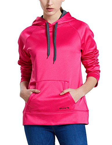 (Baleaf Women's Thermal Fleece Running Hoodie Pullover Sweatshirt Rose Red Size XL)
