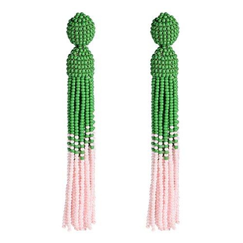 Bonnie Earrings Dangle Tassel Multicolor Glass Seed Bead Pierced Stud Tassels for Women 4