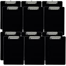 Trade Quest Plastic Clipboard Opaque Color Letter Size Low Profile Clip (Pack of 12) (Black)