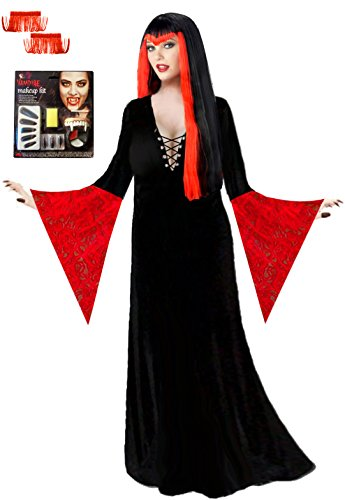 Vampiress Costumes Kit (Sanctuarie Designs Women's Red Vampiress Deluxe Kit Plus Size Supersize Halloween Costume Deluxe Kit/1x/Black/red/)