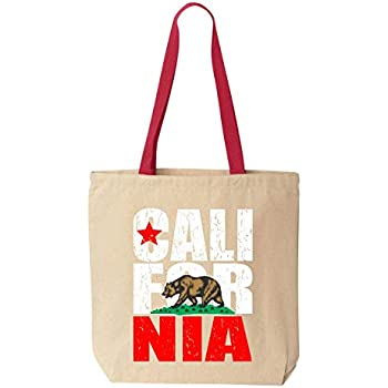 Shop4Ever California Bear Flag Vintage Cotton Canvas Tote Reusable Shopping Bag 10 oz Natural - Red 1 Pack Colored Handle