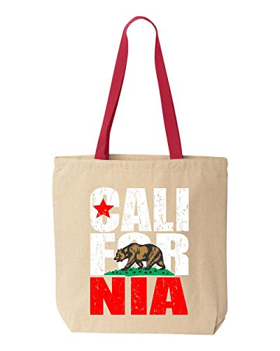 Shop4Ever California Bear Flag Vintage Cotton Canvas Tote Reusable Shopping Bag 10 oz Natural - Red 1 Pack Colored Handle -