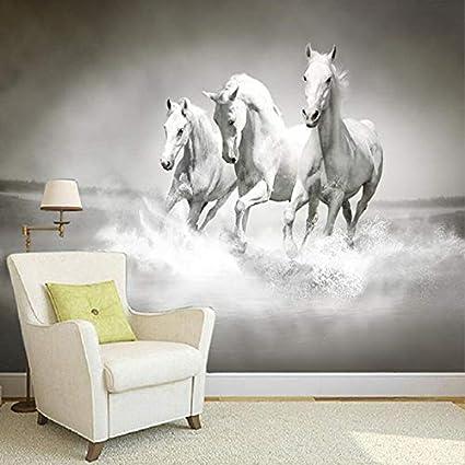 Tianxinbz Beautiful Hd White Horse Running 3d Photo Mural