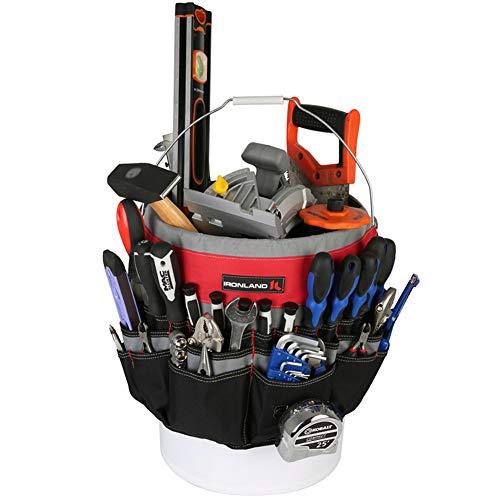 IRONLAND 1130 Bucket Tool Garden Organizer with 51-Pocket, Heavy Duty Tool Carrier Holder Fit for 5 Gallon Bucket