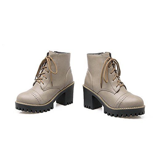 AgooLar Women's Low-Top Zipper Soft Material High-Heels Round Closed Toe Boots Gray tFPS1