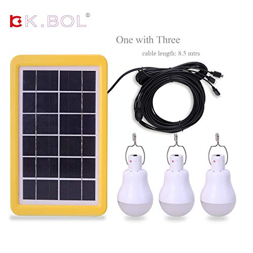(KK.BOL Solar Lamp Portable LED Light Bulb Solar Panel Powered Rechargeable Solar Led Lights Lamp Light Sensor 3GS-1200)