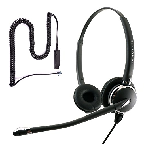 Avaya IP 1608, 1616, 9601, 9608, 9610, 9611, 9611G Pro Binaural Noise Cancel Mic Phone Headset with Plantronics compatible QD for Call Center by InnoTalk