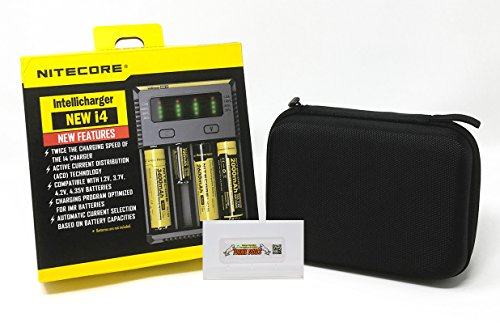 NITECORE NEW i4 Intellicharger + PRIMEDEALS Car Adapter + PRIMEDEALS Protective Battery Organizer + BONUS FREE PRIMEDEALS Travel Case by PrimeDeals