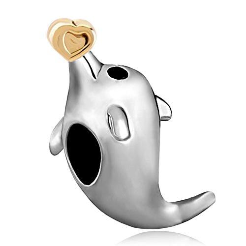 ReisJewelry Dolphin Hold Heart Charm Animal Bead For Bracelet ()