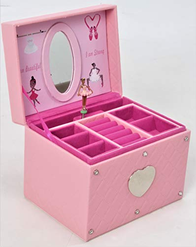 Girly Girl Princess Ballerina - African American Beauty - Musical Jewelry Box, Faux Leather, Crystals, Metal Heart - Pink/Rose