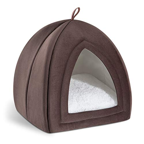Bedsure Kitten Bed Cave Bed for Cats & Dogs - 15/19 inches Up to 11lbs 2-in-1 Kitty Bed/Cat Hut/Covered Cat Bed Caves with Removable Washable Cushioned Pillow, Indoor Pet Cat Dog Beds for Pets