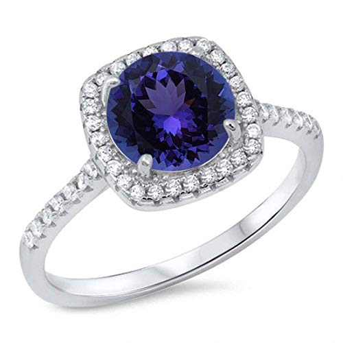 (Blue Apple Co. Halo Accent Dazzling Engagement Ring Round Shape Simulated Tanzanite 925 Sterling Silver, Size-8)